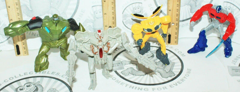 "4 LOT - TRANSFORMERS PRIME MEGATRON BUMBLEBEE BULKHEAD MCDONALDS 4"" TOY FIGURES - EZ Monster Deals"