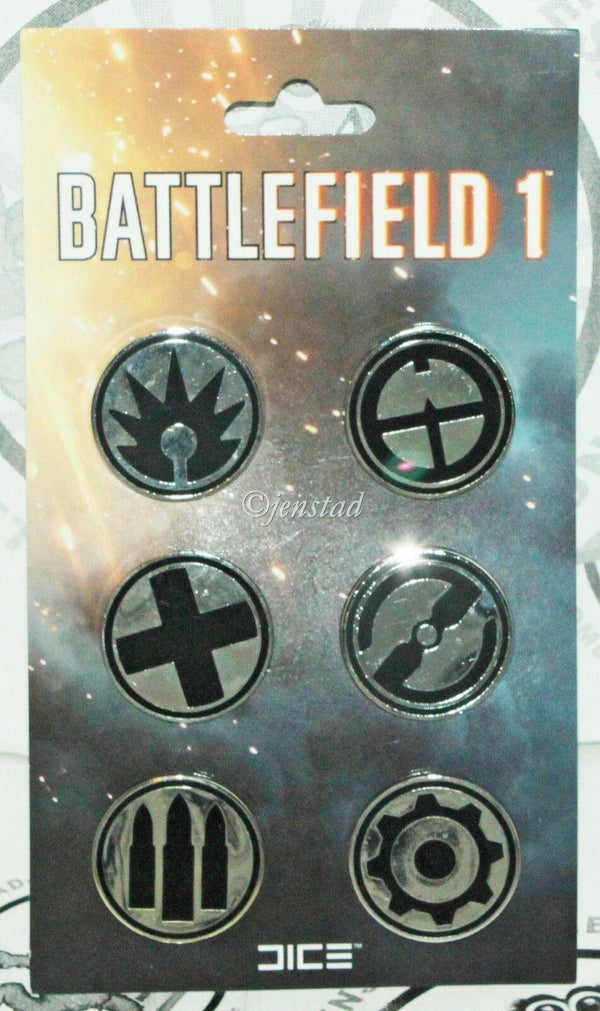 BATTLEFIELD 1 FRONTLINE METAL SILVER SIX PIN SET - VIDEO GAME ACCESSORY NEW 2016 - EZ Monster Deals