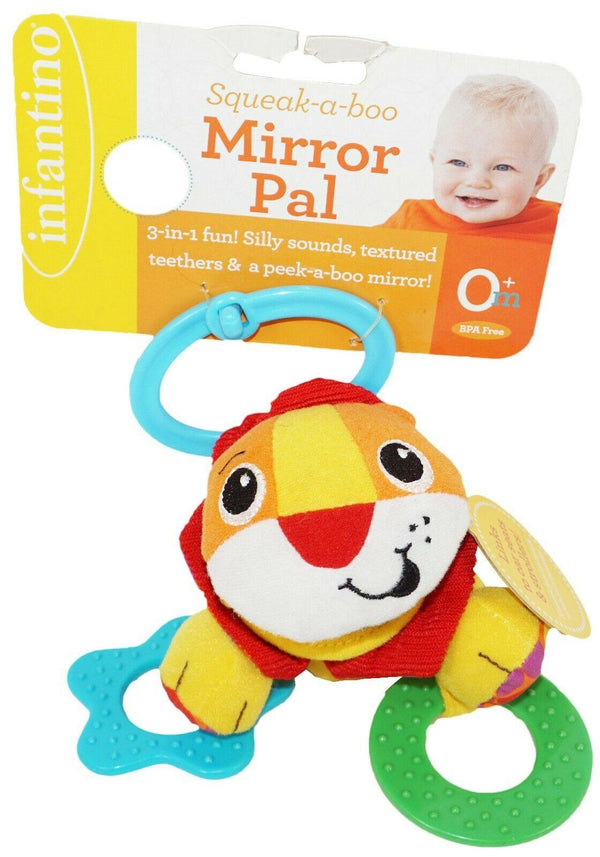 LION INFANTINO SQUEAK-A-BOO - MIRROR PAL 3 IN 1 FUN PLUSH BABY TOY NEW 2011