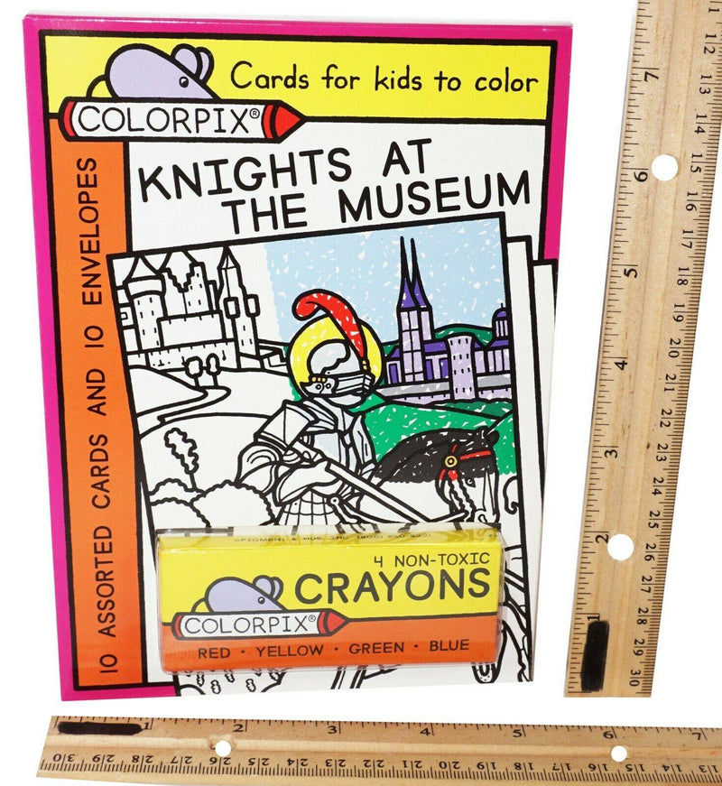KNIGHTS AT THE MUSEUM W/ 4 CRAYONS - 10 COLOR-PIX CARDS + 10 ENVELOPES NEW 2008 - EZ Monster Deals