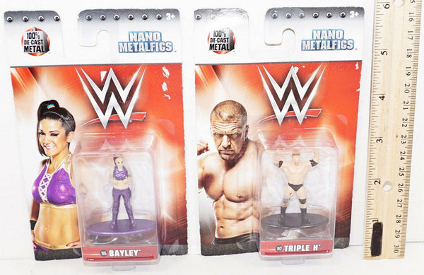 "2 LOT BAYLEY + TRIPLE H DIECAST 1.75"" TOY FIGURE - NANO METALFIGS FROM WWE 2017"