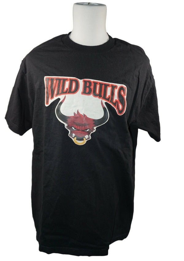WILD BULLS OR STEER COW LOGO'D SHIRT SIZE LARGE - BLACK T-SHIRT USED - EZ Monster Deals
