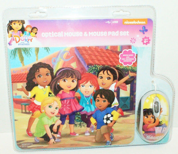 NICKELODEON DORA & FRIENDS - COMPUTER OPTICAL MOUSE & PAD SET 2015 PC/MAC NEW