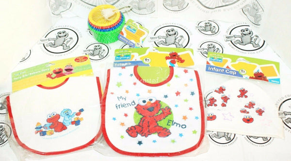 4 LOT - SESAME STREET BEGINNINGS ELMO BIB CAP & STACKING COLOR 4 CUP TOY NEW