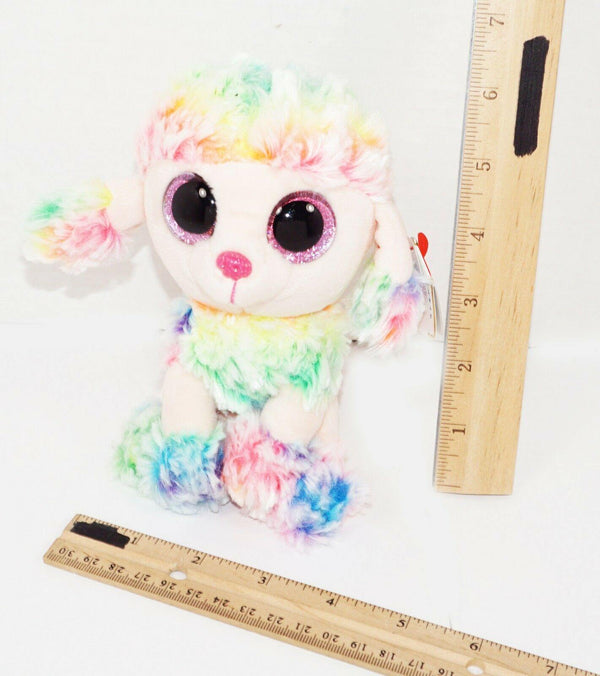 "POODLE DOG TY BEANIE BOOS RAINBOW 6"" SMALL PLUSH TOY STUFFED FIGURE USED 2017 - EZ Monster Deals"