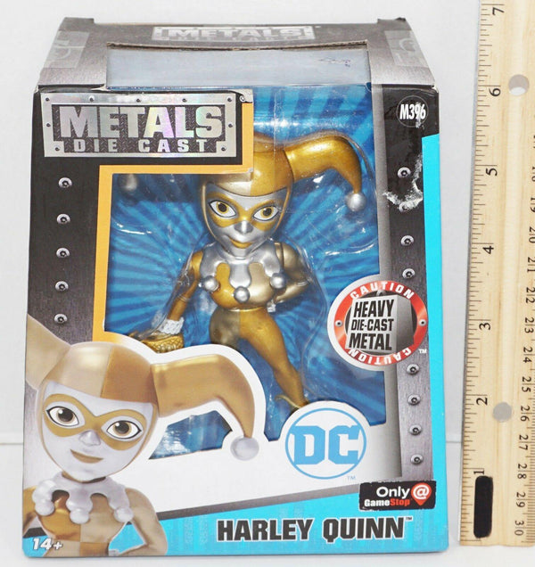 "HARLEY QUINN 4"" DIECAST - GOLD W/ SILVER TOY FIGURE METAL FIGURINE 2016 NEW"