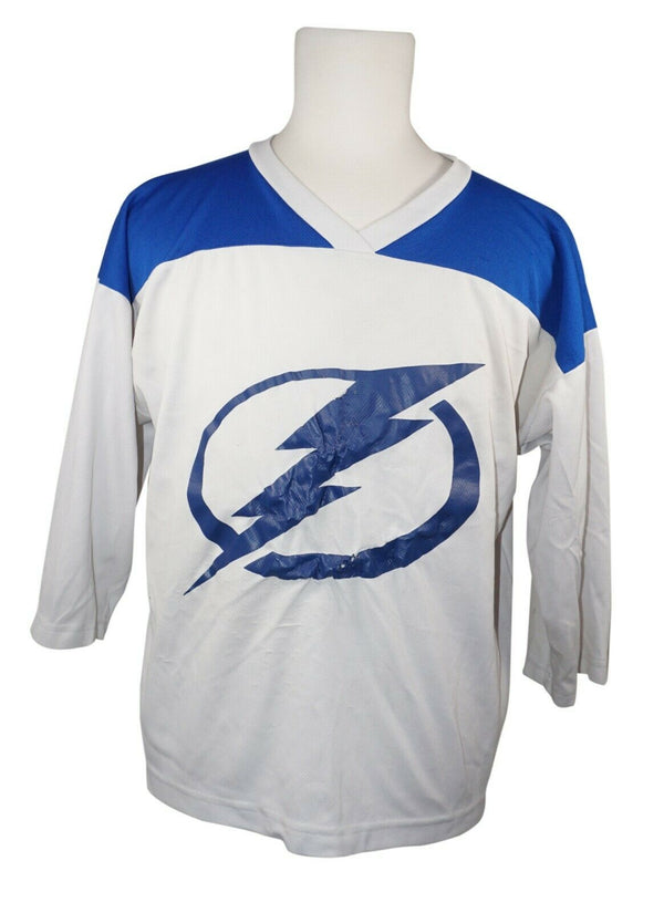 XTREME BASICS LIGHTNING BOLT - WHITE BLUE HOCKEY JERSEY YOUTH LARGE USED-EZ Monster Deals