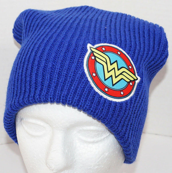 WONDER WOMAN LOGO OR SYMBOL DC COMICS BLUE WINTER KNIT BEANIE CAP UNCUFFED 2017 - EZ Monster Deals