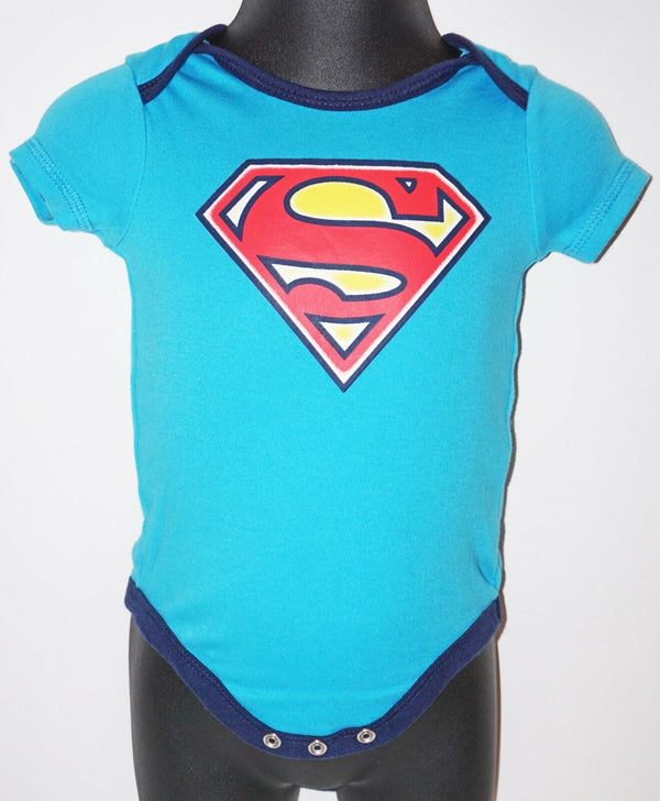 SUPERMAN - DC COMICS ONE PIECE BABY SUIT 3-6 MTH SHORT SLEEVE USED 2015 - EZ Monster Deals