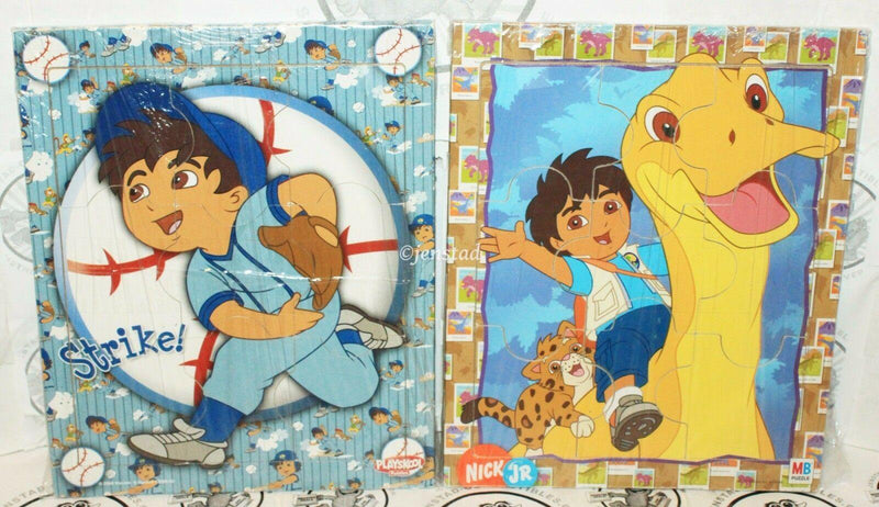 2 LOT GO DIEGO GO BASEBALL & DINOSAUR WOOD TOY PUZZLE MILTON PLAYSKOOL 2007-08 - EZ Monster Deals
