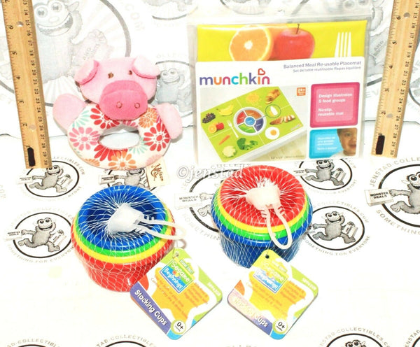 4 LOT MIX - BABY MAISON CHIC PIG RATTLE SESAME STREET STACKING CUP GAME FOOD MAT - EZ Monster Deals