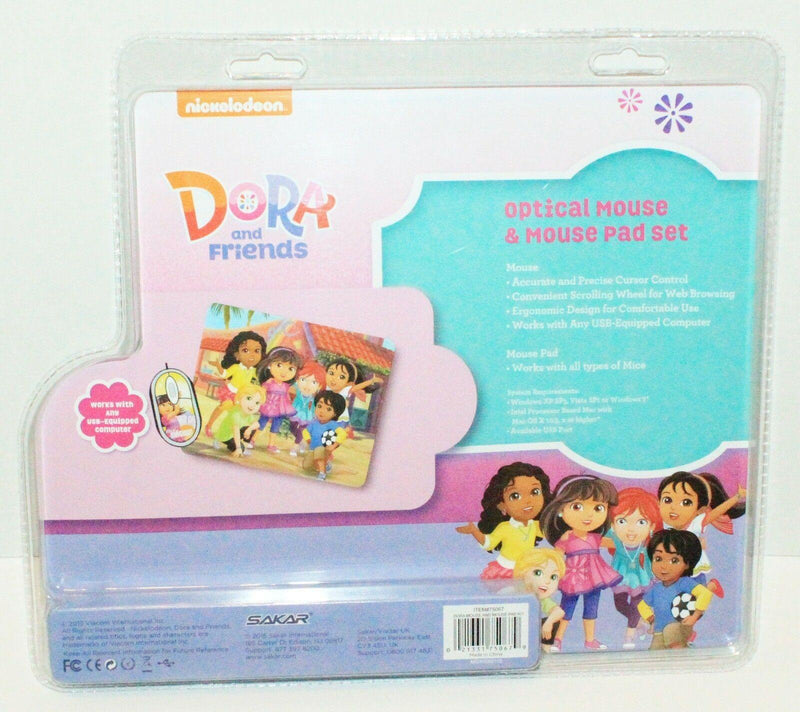 NICKELODEON DORA & FRIENDS - COMPUTER OPTICAL MOUSE & PAD SET 2015 PC/MAC NEW - EZ Monster Deals