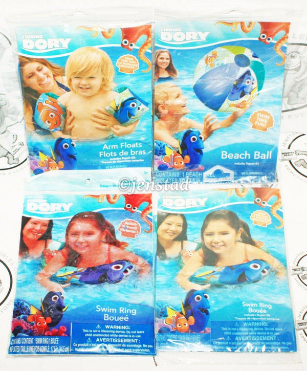 4 PACK LOT - DISNEY FINDING DORY W/ NEMO TWO SWIM RINGS, ARM FLOATS, BEACH BALL - EZ Monster Deals