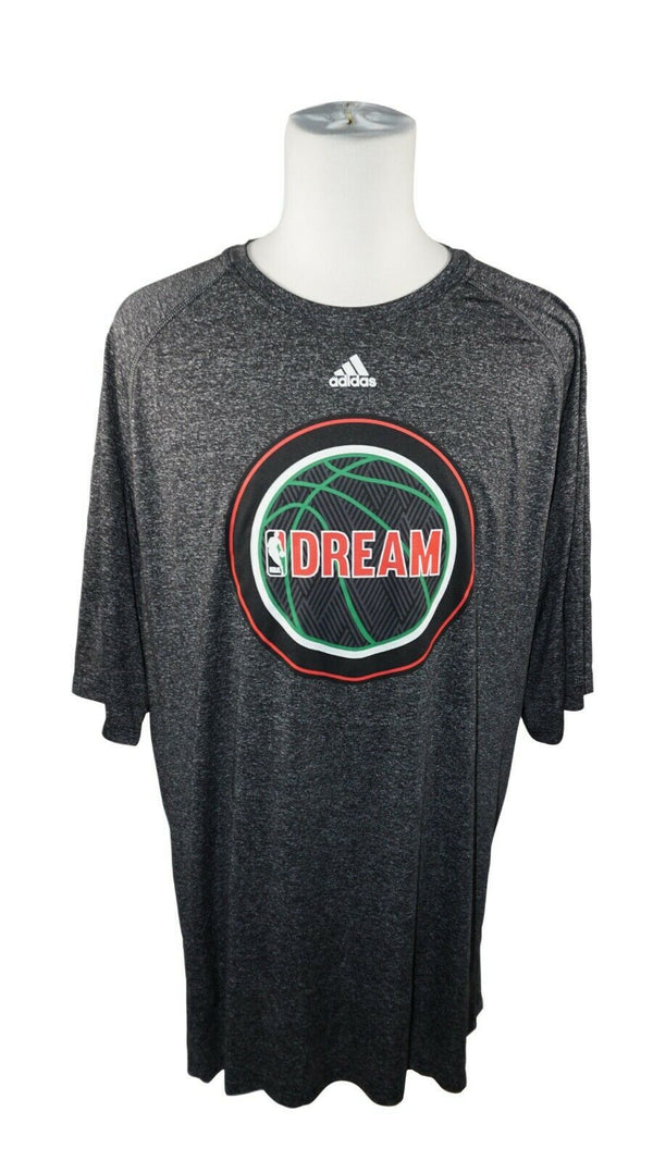 NBA DREAM ADIDAS BASKETBALL SHIRT SIZE 2XT - CHARCOAL GREY TEE T-SHIRT USED 2014 - EZ Monster Deals
