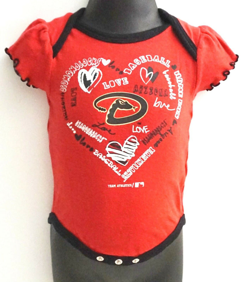 ARIZONA DIAMONDBACKS MLB ONE PIECE BASEBALL BABY SUIT 3-6 MTH SHORT SLEEVE USED