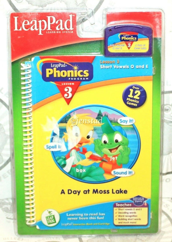 LEAP-PAD PHONICS BOOK + CARTRIDGE LEAPFROG LESSON #3 VOWELS A DAY AT MOSS LAKE - EZ Monster Deals