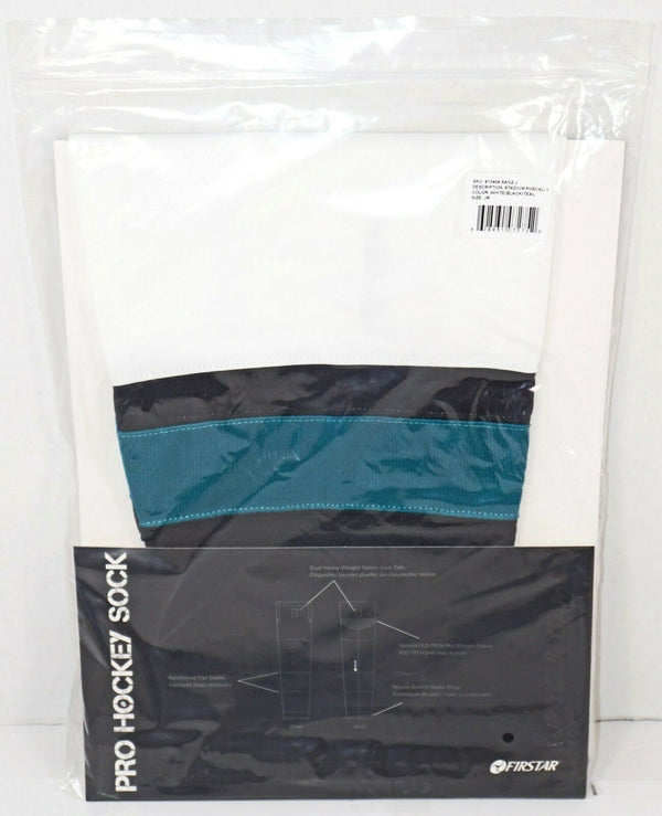 "FIRSTAR 24"" JUNIOR ICE HOCKEY STADIUM SOCKS PRO DESIGN - WHITE BLACK TEAL NEW-EZ Monster Deals"