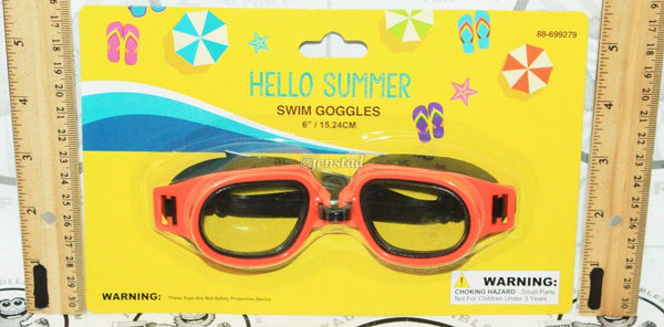 "HELLO SUMMER SWIM ADULT  6"" GOGGLES ORANGE & BLACK WITH STRAP FOR POOL BEACH NEW - EZ Monster Deals"