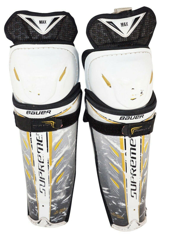 "BAUER TOTAL-ONE JUNIOR SIZE 12"" HOCKEY JR SHIN GUARD PADS - WELL USED 2011 - EZ Monster Deals"