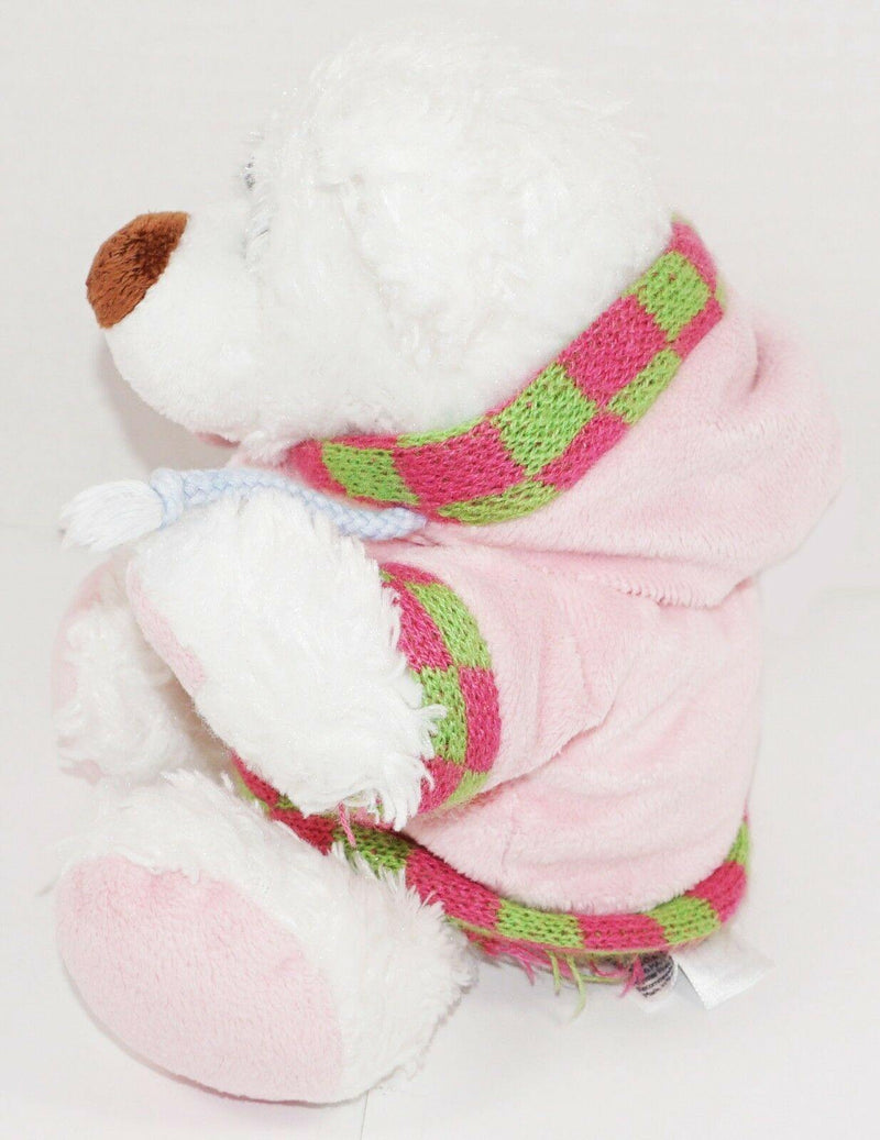"POLAR WHITE BEAR WEARING HOODIE SWEATER - 9"" PLUSH TOY BY ANIMAL ADVENTURE 2009 - EZ Monster Deals"