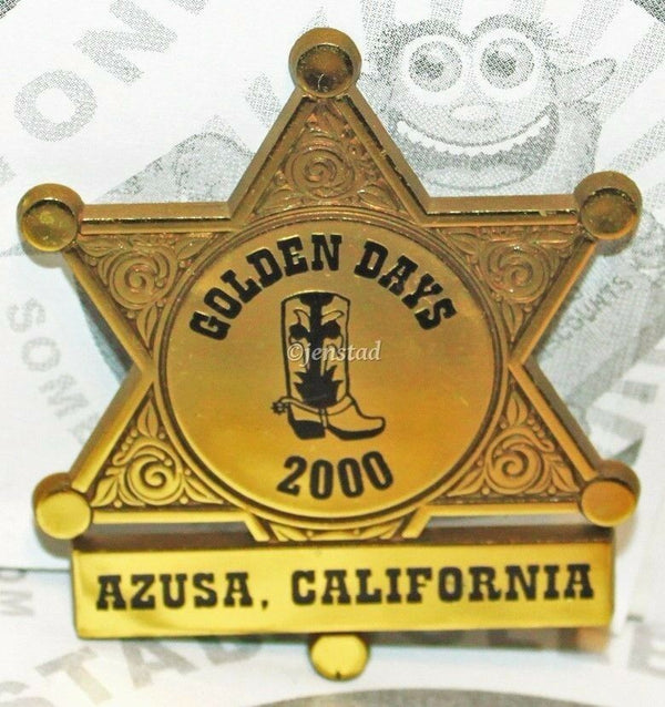 AZUSA CALIFORNIA GOLDEN DAYS GOLD SHERIFF PLASTIC BADGE TOY COLLECTIBLE 2000