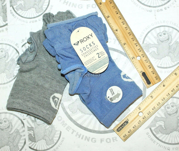 ROXY HEEL & TOE LESS WOMEN 9-11 FITNESS YOGA CASUAL SOCKS BLUE & GRAY NEW-EZ Monster Deals