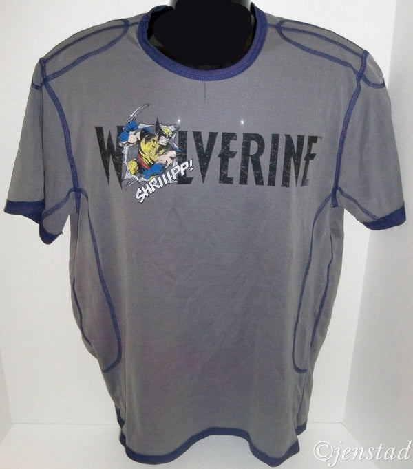 WOLVERINE MARVEL COMICS MESH POLYESTER M SHIRT - GREY MEDIUM TEE NEW - EZ Monster Deals