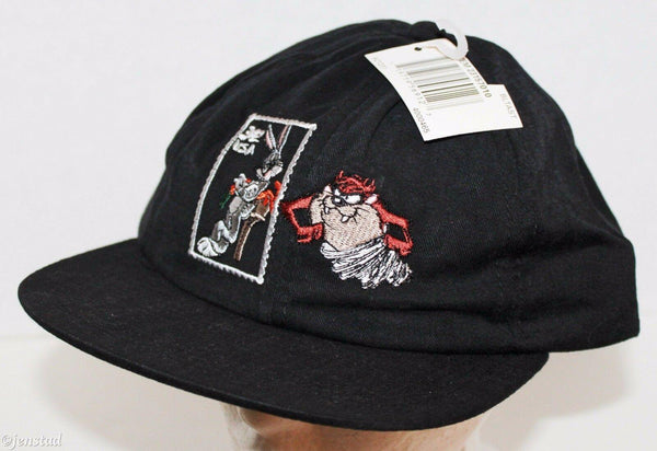 LOONEY TUNES BUGS BUNNY TAZ TASMANIAN DEVIL BLK ADULT USPS 32 STAMP CAP HAT 1997 - EZ Monster Deals