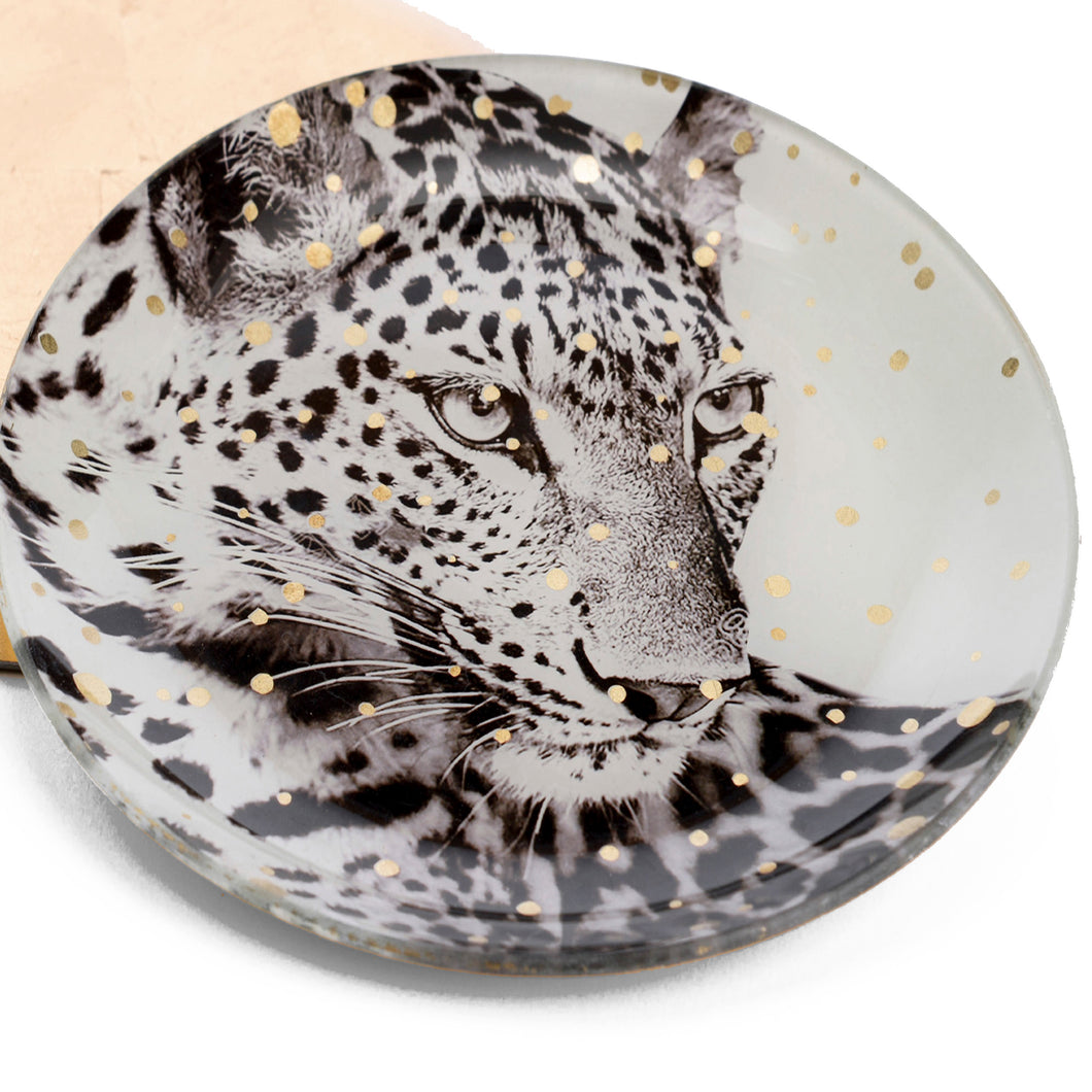 plato decorativo leopardo