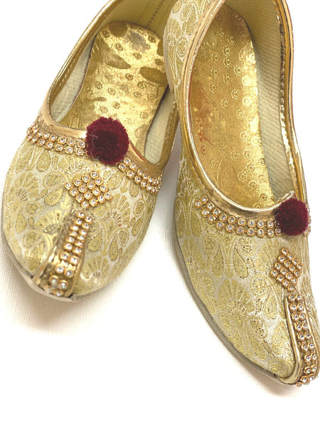 Kids Golden Punjabi Shoes with Sequince
