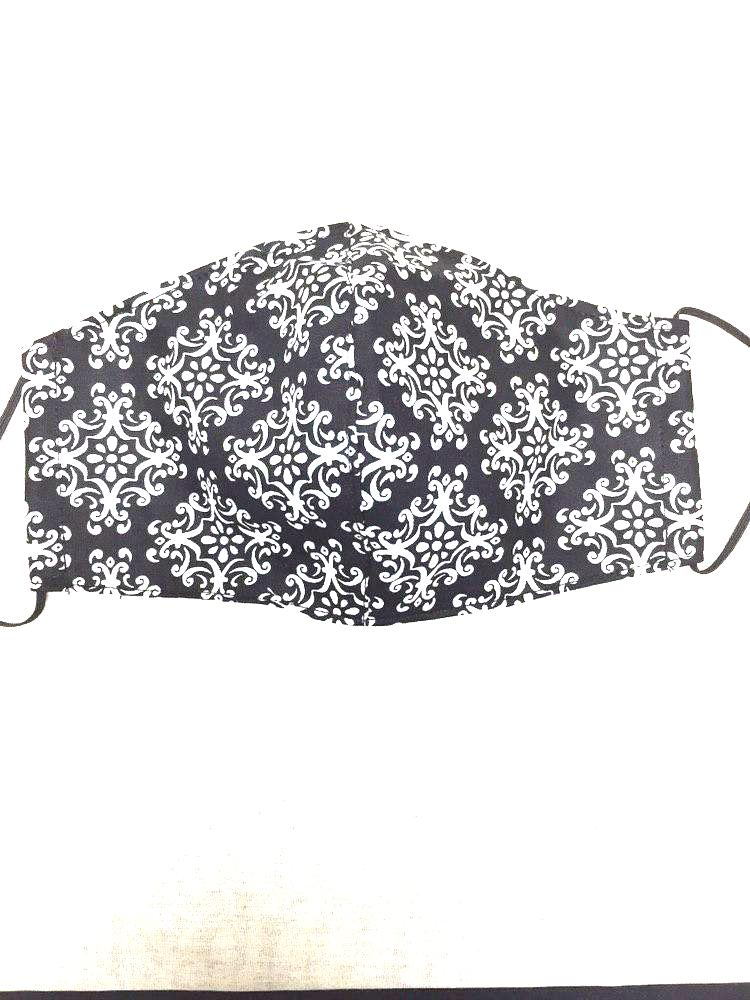 Cotton 3 ply mask black n white floral