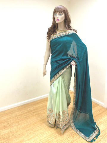 Two Shade Green Sari