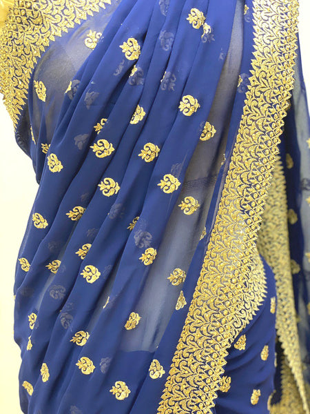 Blue and Gold Georgette Saree
