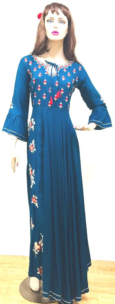 Blue Embroidery Long Kurti Top