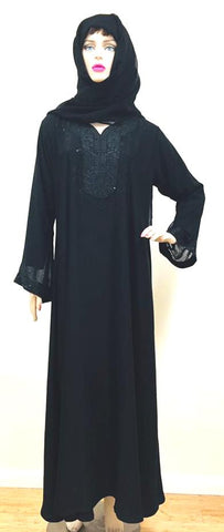 Flared Sleeves Georgette Abaya Burkha for Women