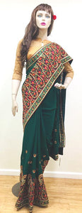 Bottle Green Kashimiri Work Saree