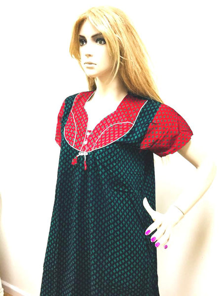 Black and Red Womens Cotton Nightie