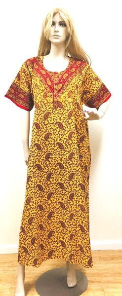 Yellow and Red Capri Womens Cotton Nightie