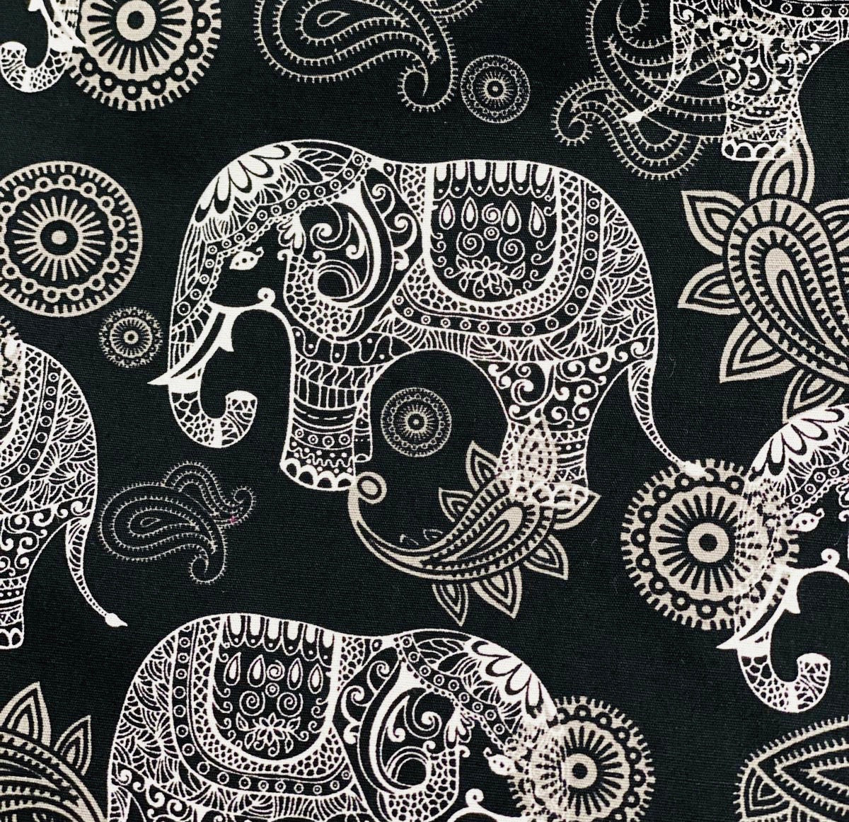 Cotton 3 ply mask Elephant (night black)