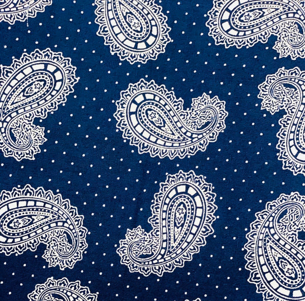Cotton 3 ply mask Blue/White Paisley