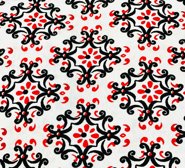 Cotton 3 ply mask black n red floral