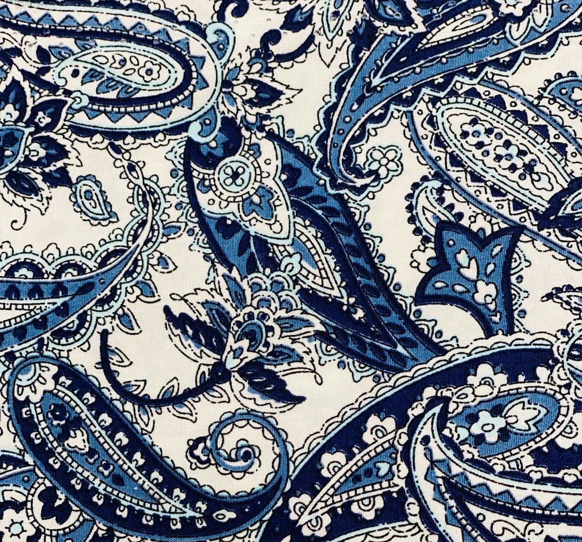 Cotton 3 ply mask Blue Black Paisley