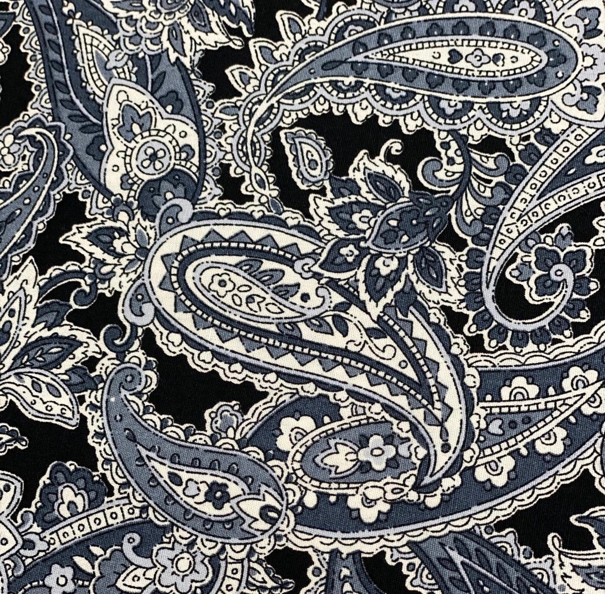 Cotton 3 ply mask Grey Paisley