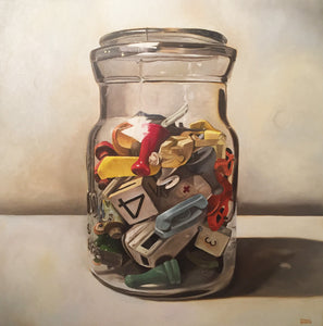 Oil painting of a clear glass jar filled with game pieces. Oil on canvas by Tobin Sprout
