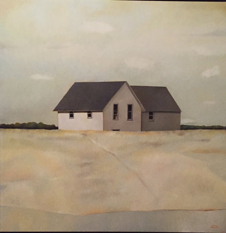 "Original oil painting by Tobin Sprout called ""House and Field"". Spare white house on field of dry tan grass."