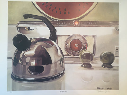 "Tobin Sprout ""10 after 4"" Print. Chrome tea pot on stove with clock"