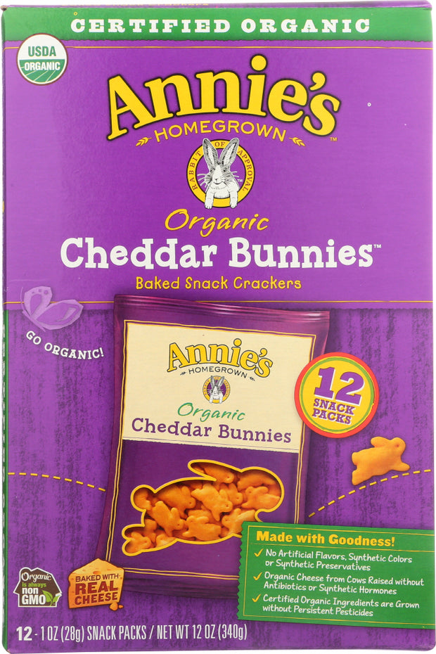 ANNIES HOMEGROWN: Cheddar Bunnies Baked Snack Crackers 12 Pack, 12 oz