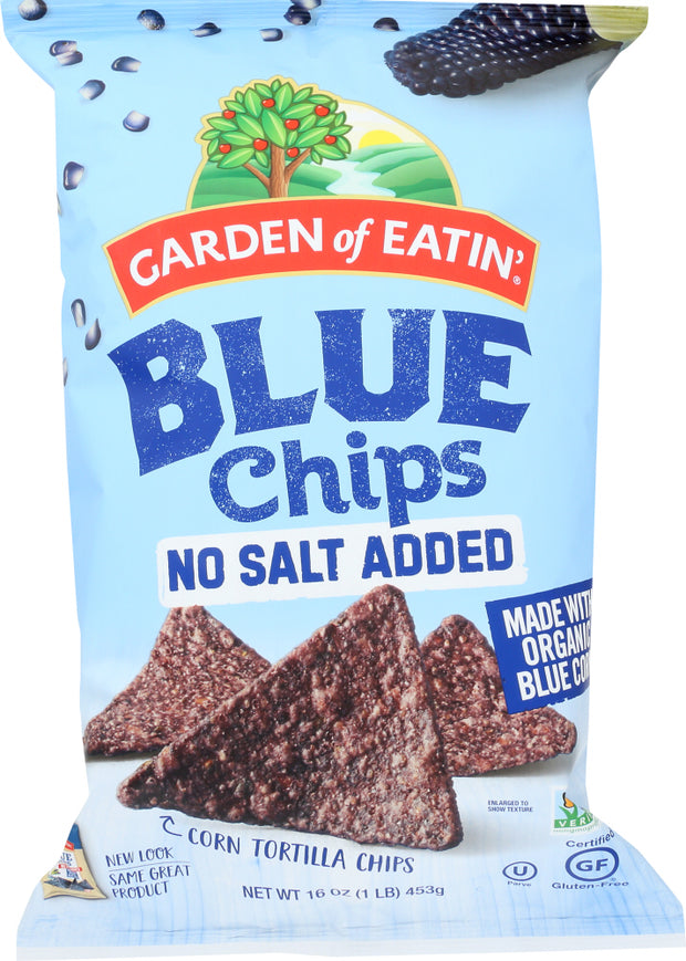 GARDEN OF EATIN: Blue Corn Chips No Salt Added, 16 oz