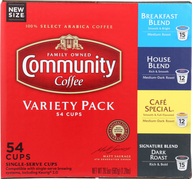 COMMUNITY COFFEE: Coffee Single Serve Variety Pack, 54 ea