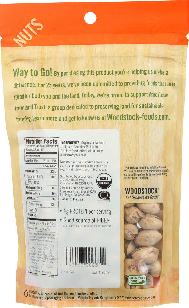 WOODSTOCK: Pistachios Organic Dry Roasted and Salted, 7 oz